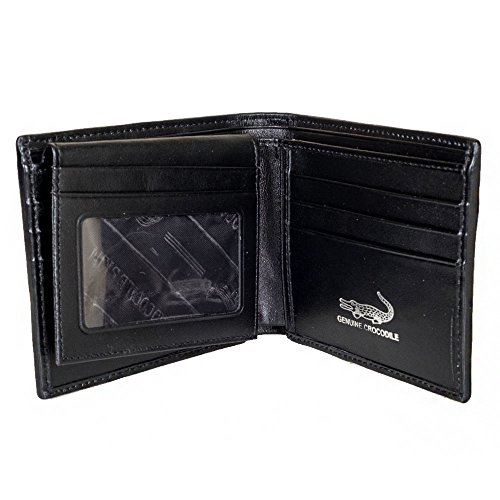 Wallet KTM ID Card Leather Purse Genuine Tail Black Big Crocodile xwxU0Zq4