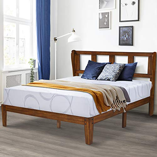 Ecos Living 14 Inch High Rustic Solid Wood Platform Bed Frame with Headboard/No Box Spring/No Squeak, Light Brown, King - Modern Cherry Frame