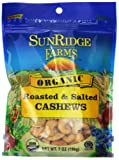 Sunridge Farms Organic Roasted Salted Cashews, 7 Ounce Bag (Pack of 12)