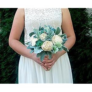 Succulents Sola Flowers Dusty Miller Ivory Wedding Bouquet 86