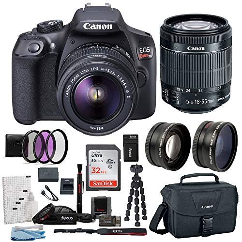 Canon EOS Rebel T6 Digital Camera: 18 Megapixel 1080p HD Video DSLR Bundle With Wide Angle 18-55 MM Lens 32GB SD Card Mini Tripod Filter Kit & Charger - Professional Vlogging Sports and Action Cameras