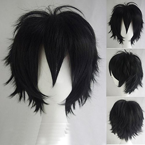 S-noilite Unisex Cosplay Short Fluffy Straight Hair Wig Cartoon Anime Con Party Costume Dress Pixie Wigs (Costume-con)