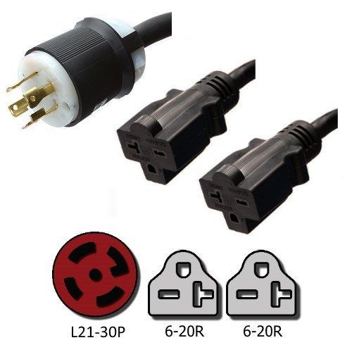 NEMA L21-30P to 2x 6-20R Y Splitter Cord - 10 Foot, 20A/125V, 12/3 AWG - Iron Box # IBX-2137-10