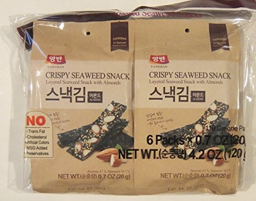 Dongwon Yangban Crispy Layered Seaweed Snack with Almonds (4.2 total ounce) (Pack of 3)