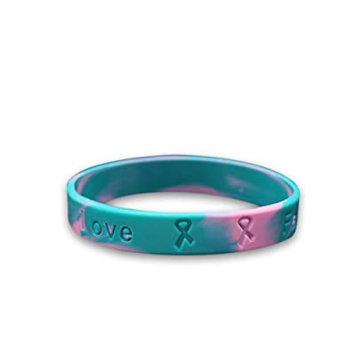 Fundraising For A Cause Pink & Teal Silicone Bracelet - Hereditary Breast Cancer Awareness Wristband: Toys & Games