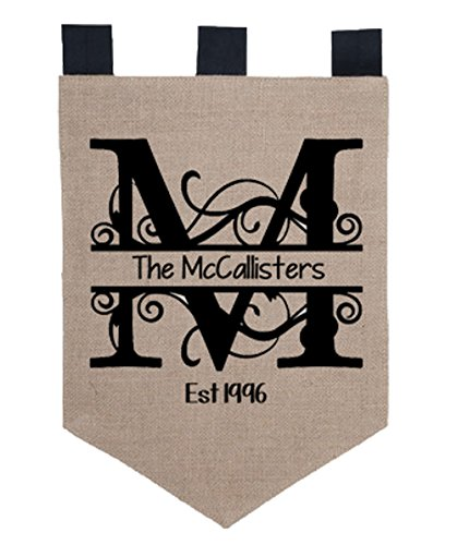 KYS Personalized Family Name Burlap Garden Flag, 18