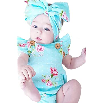 lantusi Toddler Baby Girl Casual Square Collar Short Sleeve Floral Button Ruffles Romper Bodysuits