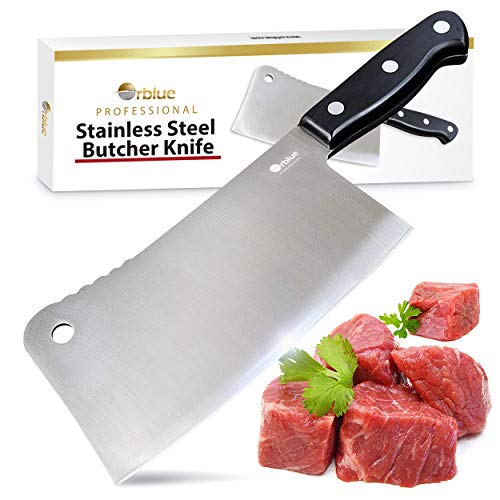 - Orblue Stainless Steel Chopper-Cleaver-Butcher Knife, 7-Inch Blade for Restaurant or Home Kitchen
