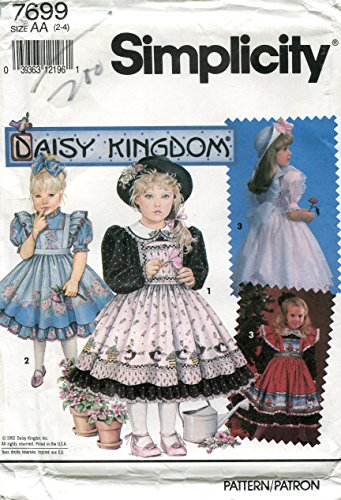 (Simplicity Daisy Kingdom Pattern 7699 Girl's Dress and Pinafore, AA (2-4))