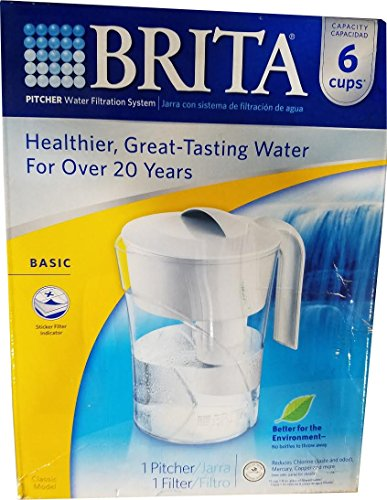 Brita Classic Water Filter Pitcher, White, 6 Cup
