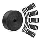 BTNOW 15 Set Plastic 1 Inch Flat Side Release Buckles and Tri-glide Slides with 1 Roll 5 Yards Nylon Webbing Straps for DIY Making Luggage Strap, Pet Collar, Backpack Repairing