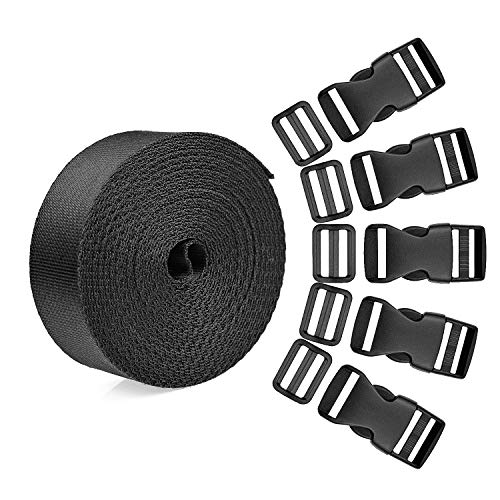 BTNOW 15 Set Plastic 1 Inch Flat Side Release Buckles and Tri-Glide Slides with 1 Roll 5 Yards Nylon Webbing Straps for DIY Making Luggage Strap, Pet Collar, Backpack Repairing ()