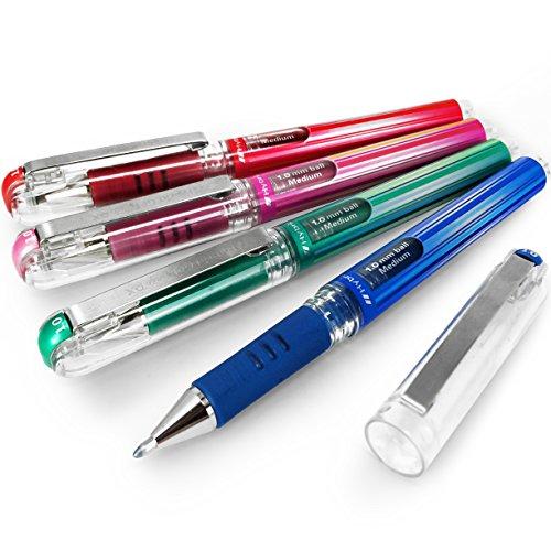 Pentel Hybrid Gel Grip Metallic Pen – 1.0mm Rollerball – Blue, Green, Pink and Red - Pack of 4 - K230 (Pen Gel Grip Pentel Hybrid)