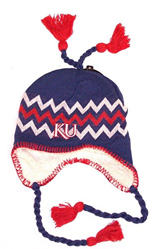 Bird Head Toque Beanie (NCAA Officially Licensed Kansas Jayhawks Sherpa Lined Tassel Beanie Hat Cap)