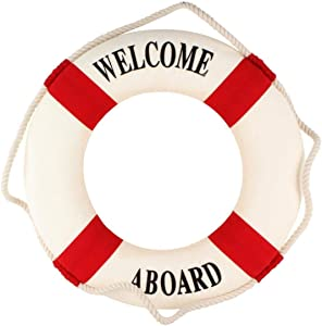 VOSAREA Welcome Aboard Life Ring Nautical Decor Rustic Decorative Life Ring Wall Decor Foam Life Ring for Home Door Wall Hanging Decor, Red, 13.8 inch