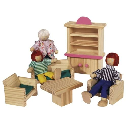 Smoby Eichhorn - 100002513 - Jeu Construction Bois - Maison de Poupée avec Meubles et Figurines - 75 Blocs Bois
