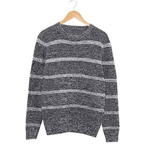 Shining4U Handsome and Silm Men Sweaters Fashion Style Patchwork Knitted Quality Pullover Men O-neck Casual Sweater Black00X-Large by Shining4U Pullover-sweaters