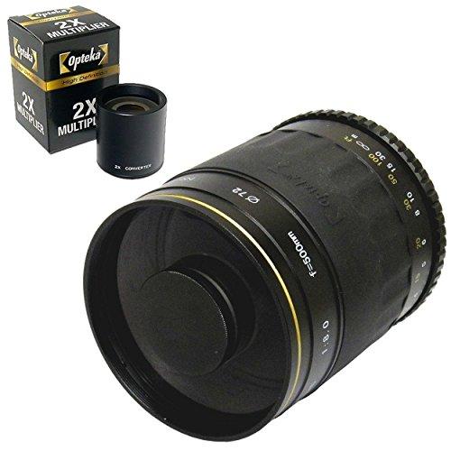 Opteka 500mm / 1000mm High Definition Mirror Telephoto Lens for Nikon D5, D4s, D4, D3x, Df, D810, D800, D750, D610, D500, D7500, D7200, D7100, D5600, D5500, D5300, D3400, D3300 Digital SLR Cameras
