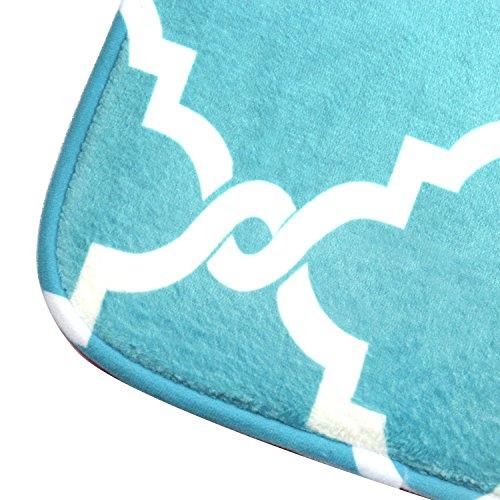 Bath Mat, U'Artlines Comfort Extra Thick Memory Foam Bath Mat Set Bathroom Mats Shower Rugs with Sbr Back and Flannel Surface (17.7x47.3, Blue) by U'Artlines (Image #9)