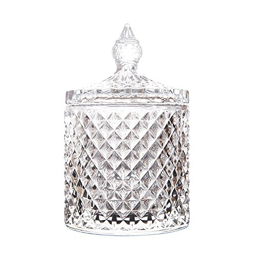 RockTrend Home Decorative Candy Jar Candy Dish Candy Buffet Storage Container Clear Crystal Diamond Faceted Jar with Crystal Lid-Large-16 OZ ()