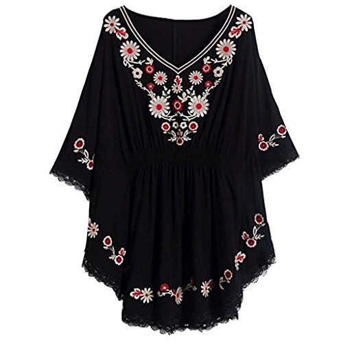 Women Vintage Loosen Embrodiered Batwing Sleeve Dressy Mexican Tunic Peasant Tops Blouse Black (Sexy Mexican Woman)