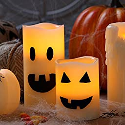 3 Ivory Wax Flameless Candles with Warm White LEDs, Melted Edge, Timer, Remote & Batteries Included