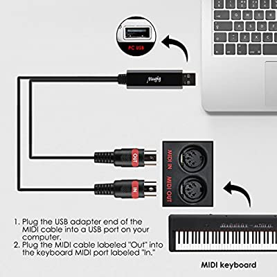 Mugig Midi Cable IN-OUT MIDI to USB, interface cable FTP Chip, 5 PIN, No Need Drivers and Convert Piano Keyboard Instruments with Laptop PC MAC, 1.95m