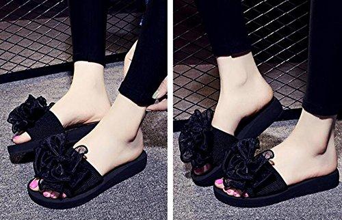 Bumud Dames Bohemen Slippers Strand Sandalen Platte Schoenen Zwart