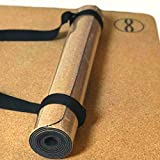 Heala Non-Slip Hot Yoga Cork Mat with Strap | Safe Organic Eco-Friendly Non-Toxic Natural Rubber | For Exercise Stretching Meditation Travel | No Towel Needed | Large Size: 68x24 | 3.5mm Thick Pad