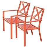 Giantex 2 Pcs Orange Outdoor Patio Chair Slat Seat Furniture Porch Garden With Armrest For Sale