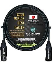 Cable de micrófono equilibrado de 6 pies, hecho a medida por Worlds Best Cables, con cable Mogami 2549 (negro) y conectores XLR de Neutrik NC3MXX-B y NC3FXX-B Gold