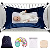 Buddies & Babies Baby Crib Hammock - Safety Crescent Mimics Womb Hanging Bed for Newborns - Best Infant Bed Sleeping with Mesh Support and Adjustable Straps - Great Baby Shower Gift Blue