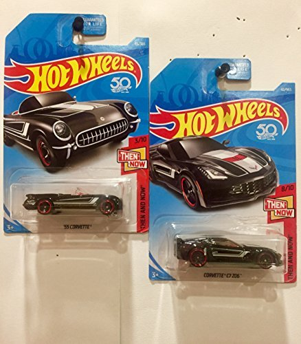 Hot Wheels 2018 Then And Now 1955 Chevrolet Chevy Corvette and C7 Z06 ZO6 Black SET OF ()