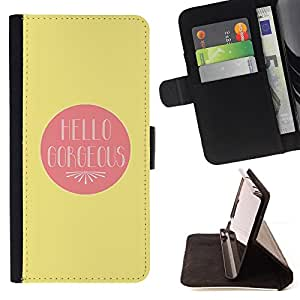 Jordan Colourful Shop - hello gorgeous valentines lover love yellow For Apple Iphone 5C - Leather Case Absorci???¡¯???€????€???????&b