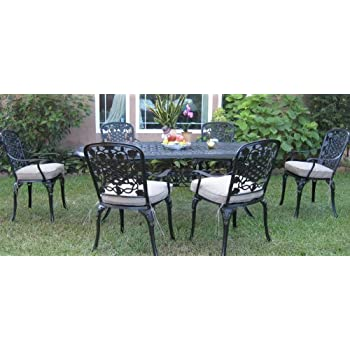 Outdoor Cast Aluminum Patio Furniture 7 Piece Dining Set F CBM1290