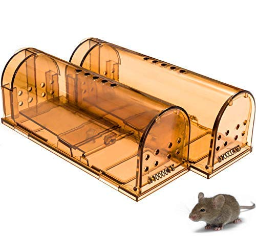 CaptSure Humane Smart Mouse Trap, Live Catch and Release, Kids/Pet Safe, Easy to Set, for Indoor/Outdoor, Reusable Cage Box, for Small Rodents/Voles/Hamsters/Moles Catcher That Works. 2 Pack ()