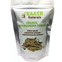 KAASH NATURALS ORGANIC ASHWAGANDHA POWDER, 100% Raw from India , Natural, Super Food, Gluten Free, Herbal,