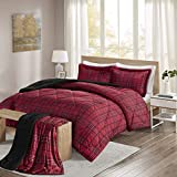 Comfort Spaces - Aaron Sherpa Comforter Set + Throw Combo - 4 Piece - Checker Plaid Pattern - Red - King Size - Ultra Softy, Fluffy, Warm - Includes 1 Comforter, 2 Shams, 1 Throw