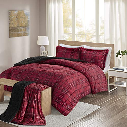 Comfort Spaces - Aaron Sherpa Comforter Set + Throw Combo - 4 Piece - Checker Plaid Pattern - Red - King Size - Ultra Softy, Fluffy, Warm - Includes 1 Comforter, 2 Shams, 1 Throw by Comfort Spaces