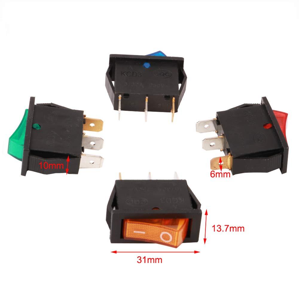 RUNCCI 16Pcs Boton Interruptor Rocker,Mini Interruptores Basculantes,16 A 250 V AC 3 Pines interruptor SPST para Auto Vehiculo Barco