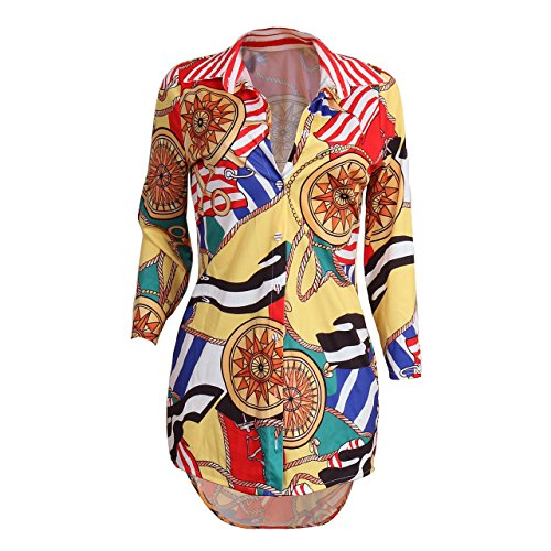 Floral Print Button Front Shirt (Women's Vintage Stretch Long Sleeve Anchor Floral Print Dashiki Button Down Shirt Dress Tunic Top Blouse Yellow, Small)