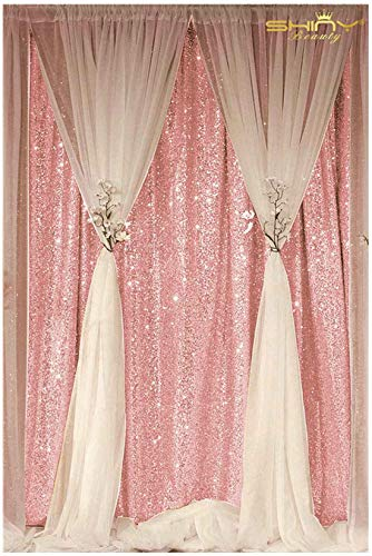 ShinyBeauty 3FTX7FT-Sequin Backdrop-Curtain-Pink, 36X84-Inches Sequin Photography Curtain,Ready to Ship. (Pink)