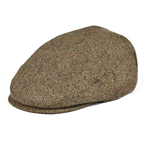 BOTVELA Men's 100% Wool Flat Cap Classic Irish Ivy Newsboy Hat (Khaki, L)
