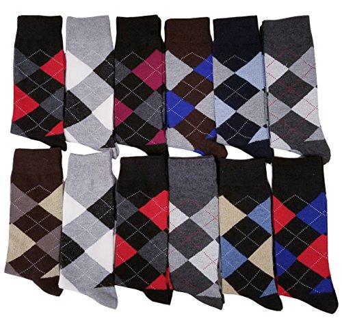 12 Pairs Colorful Fashion Design Dress socks 10-13