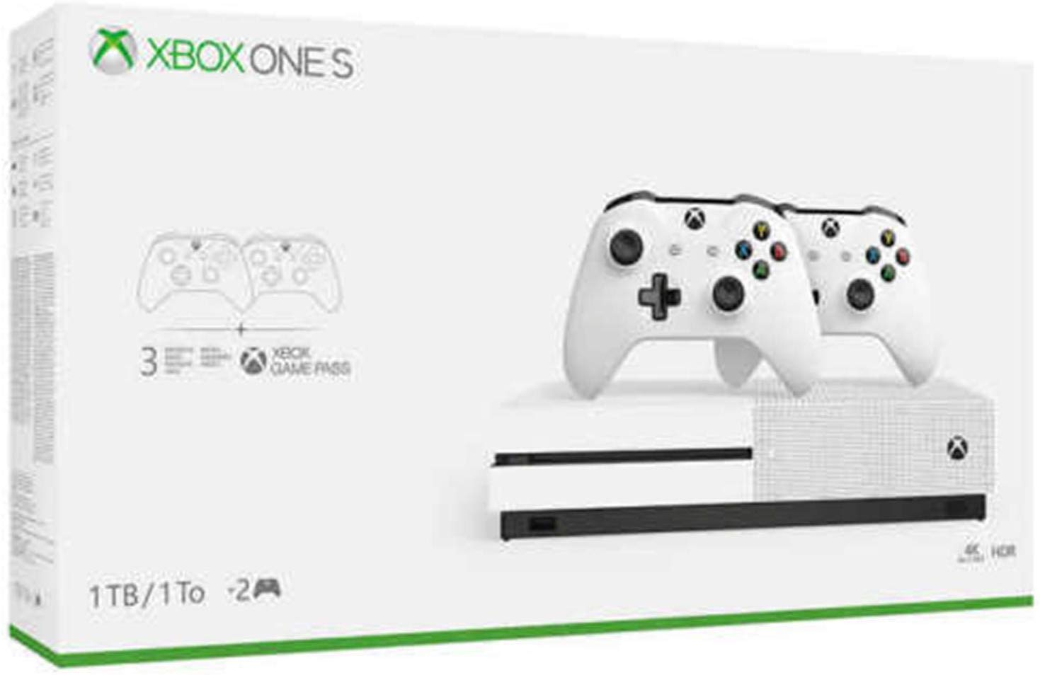 Xbox One S Two Controller Bundle (1TB) Includes Xbox One S, 2 Wireless Controllers, 14-day Xbox Live Gold and Game Pass Trial (Renewed)