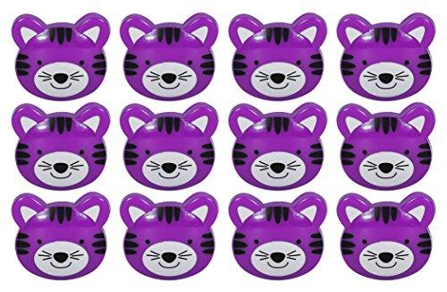 Set of 12 Purple Tiger Novelty Animal Face Bag Clip, Chip Clip, Paper Clip - Tiger