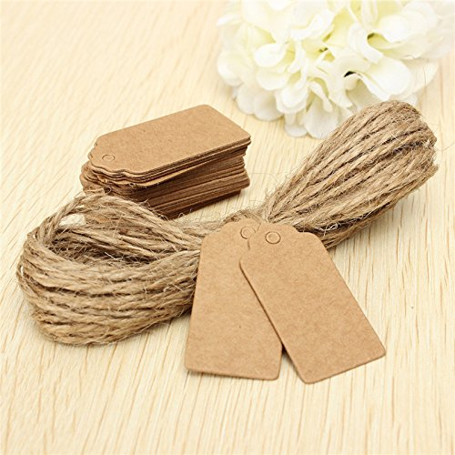 (100X Brown Kraft Paper Wedding Note+String Tags Lace Scallop Head Label Luggage DIY Blank price Hang Tag Kraft Gift Hang tag)