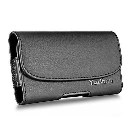 Yuzihan Belt Holster Pouch for iPhone 5 5S 5C SE Premium Leather with Belt Clip Belt Loop Fit with Otterbox Defender Case/Lifeproof Case/Hybrid Armor Case/Battery Case On (Case Iphone 5c Belt)
