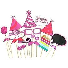 EBTOYS Birthday Photo Booth Props DIY 18-Kit Happy Birthday Photo Booth for Party Favor