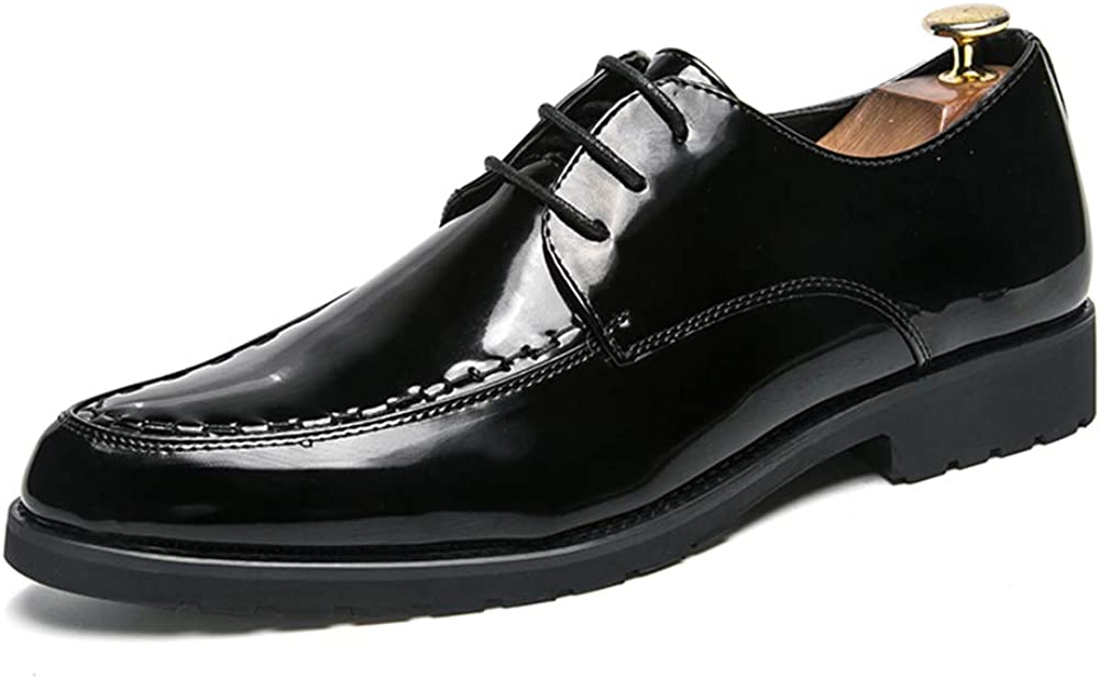 Elegdy Mens Fashion Oxford Casual Classic British Style Lace Up Patent Leather Formal Shoes Fashion Slipper